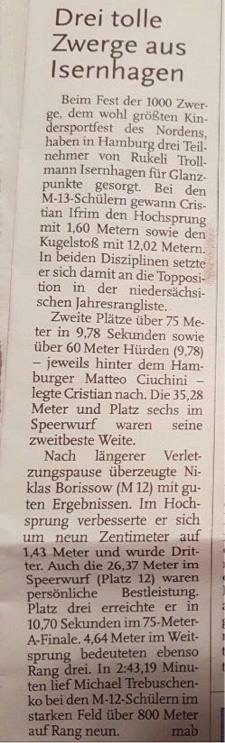Artikel der Nordhannoversche Zeitung zu den Erfolgen unser Athleten beim Sportfest der HSV in Hamburg